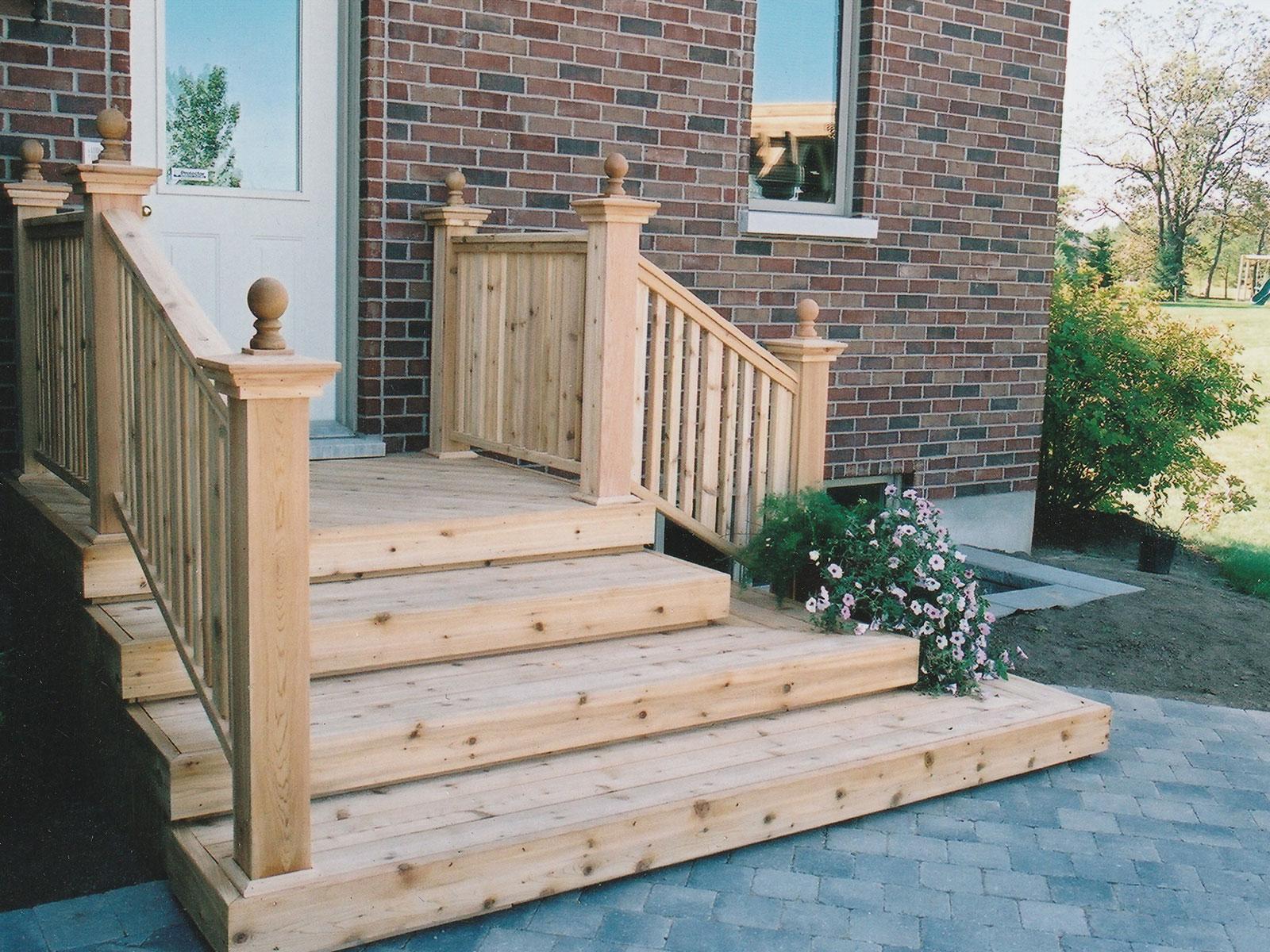 Cedar Box Steps and Railing