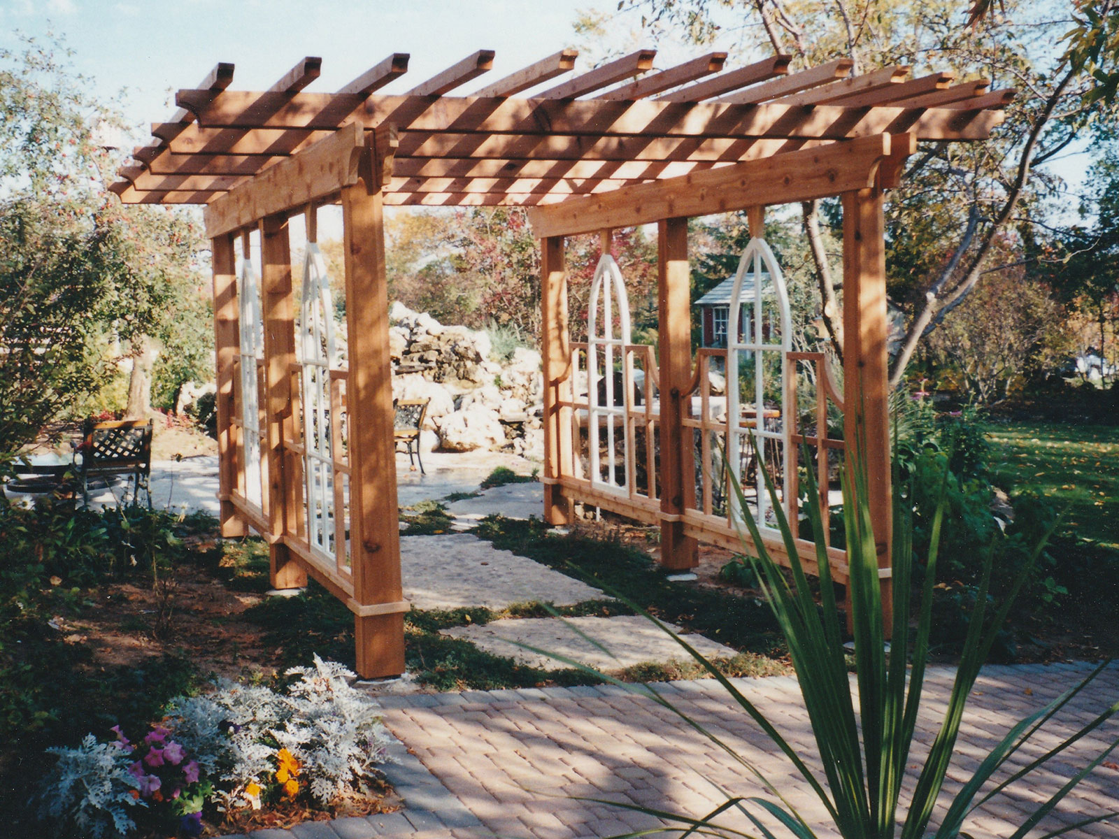 Cedar Entry Arbor with Large Limestone Stepping Stone