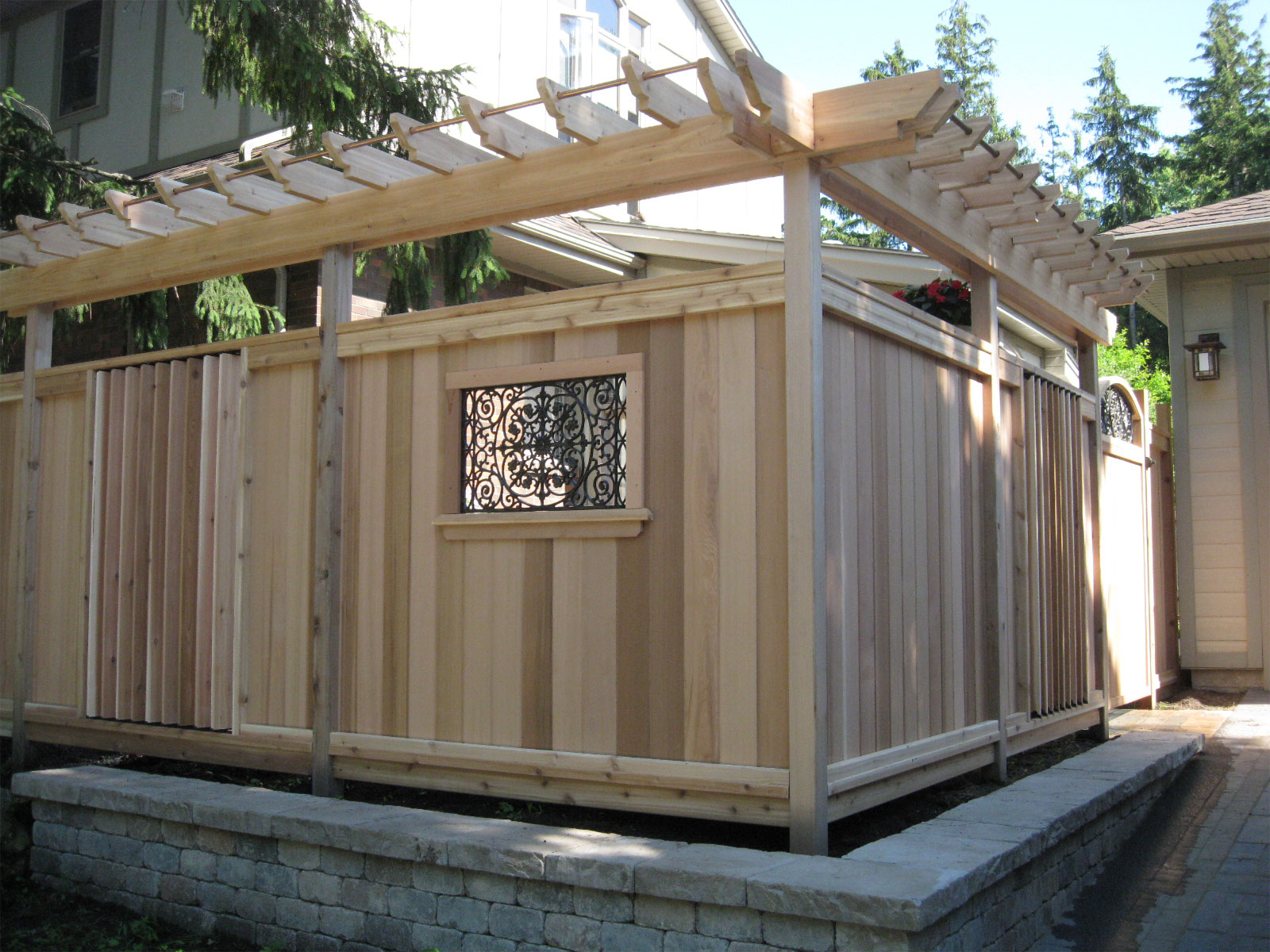 Custom Cedar Privacy Fence - Ornamental Iron