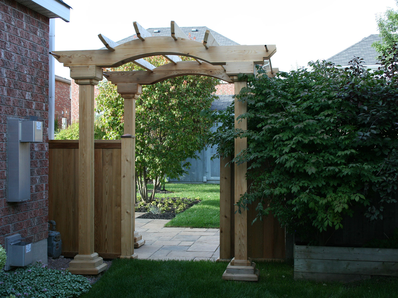 Custom Cedar Arbour Back Yard Entrance