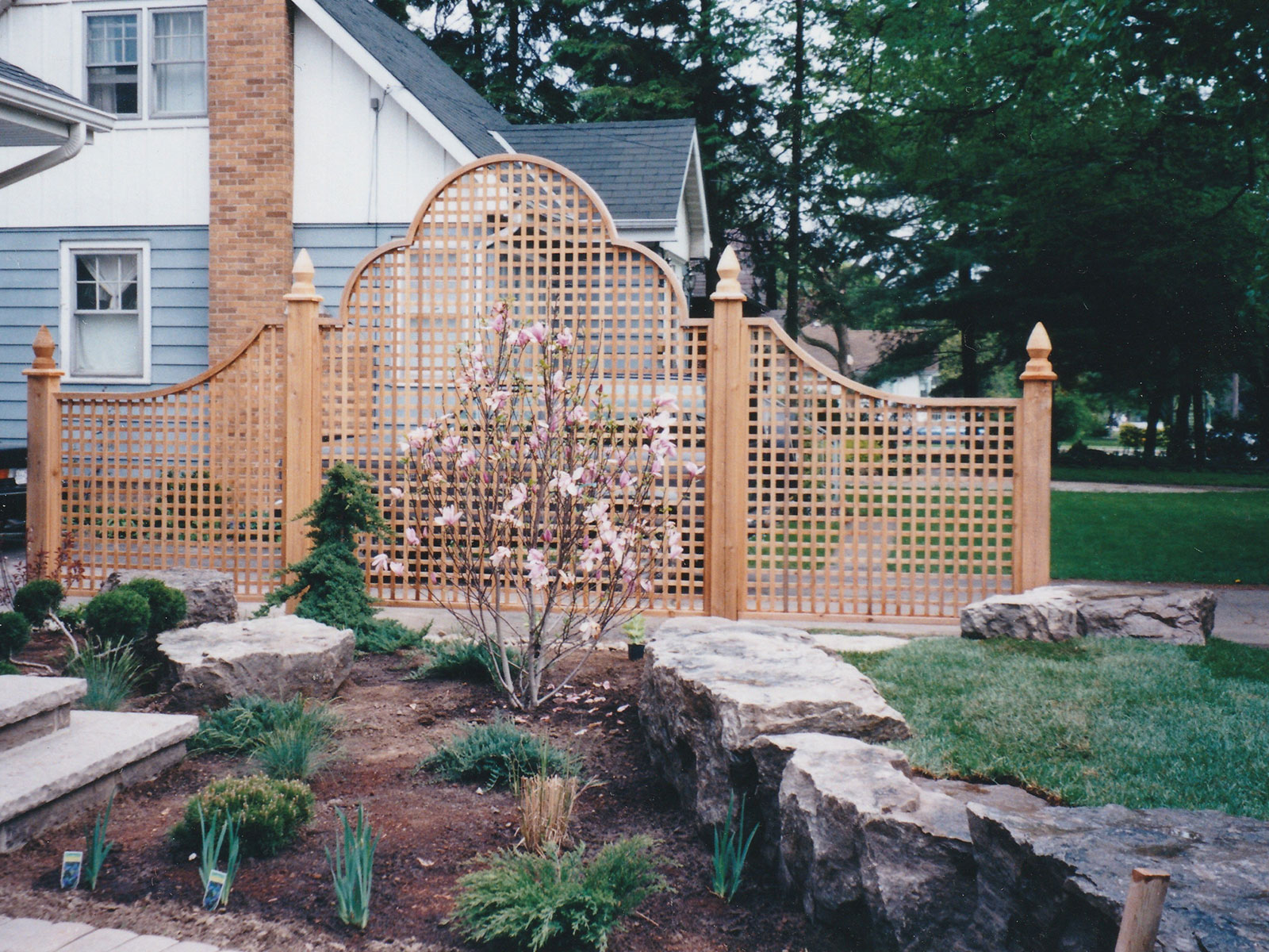 Custom Clear Cedar Pricacy Screen and Armour Stone