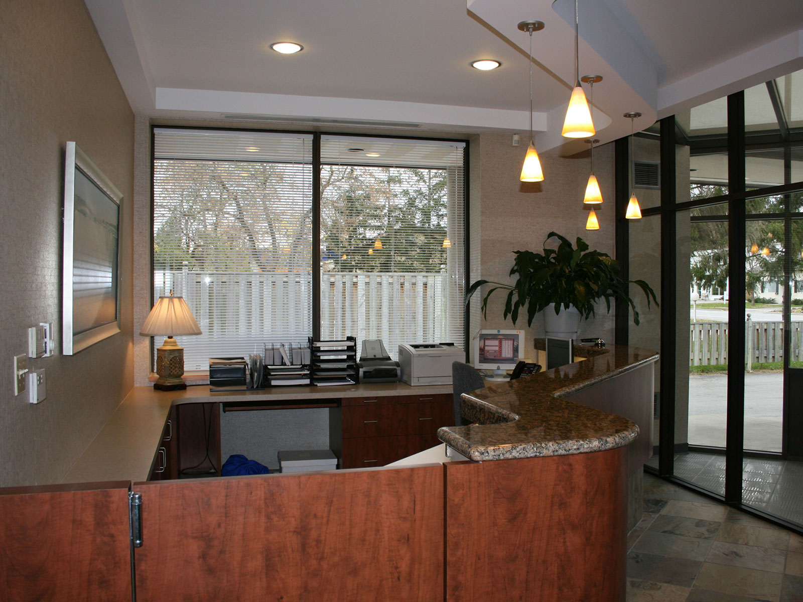 Reception Area Millwork - Pendant Lighting