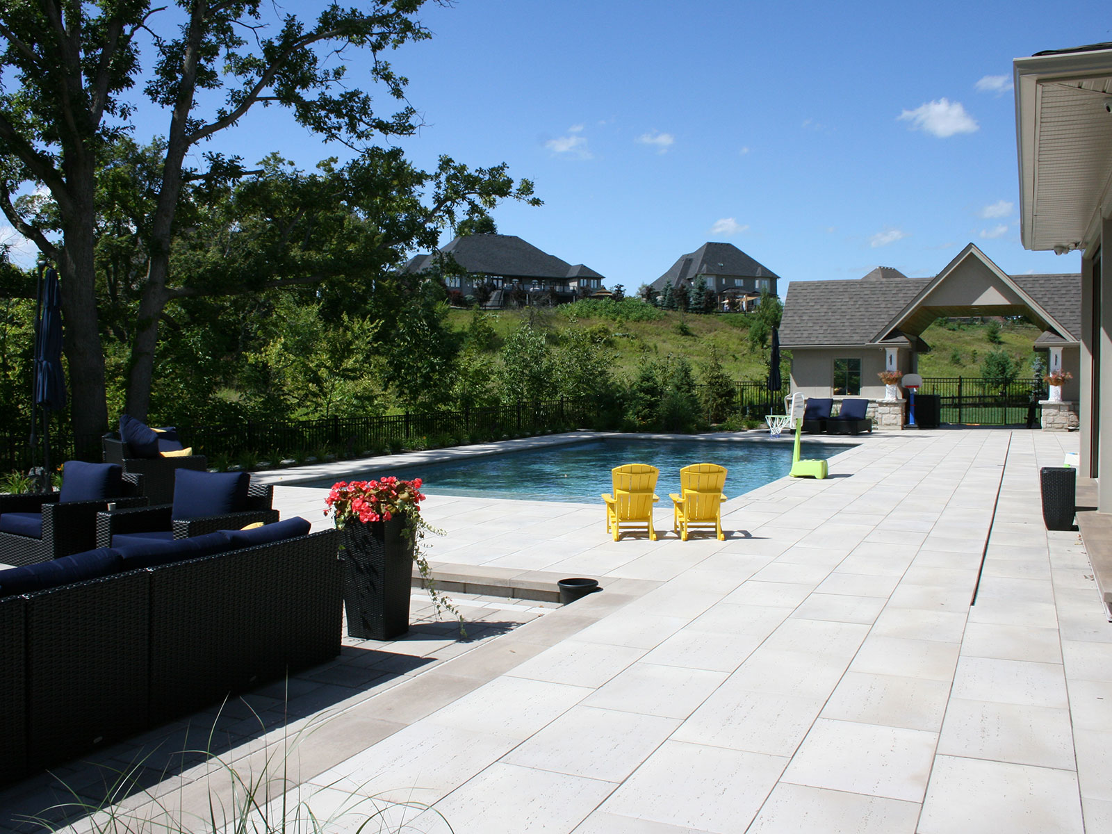 Custom Concrete Pool  Techo Travertina Raw Patio