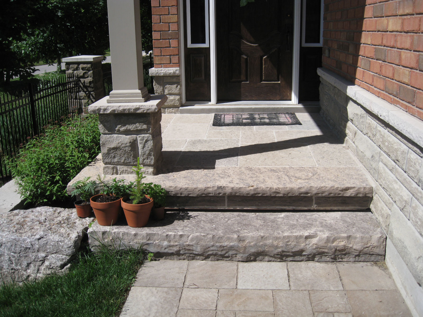 Custom Limestone Step and Flagstone Landing