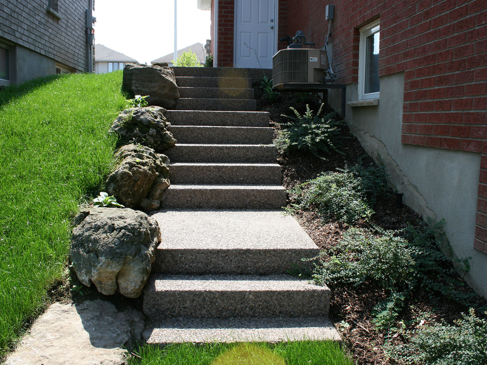 Exposed Aggregate Side Yard Steps