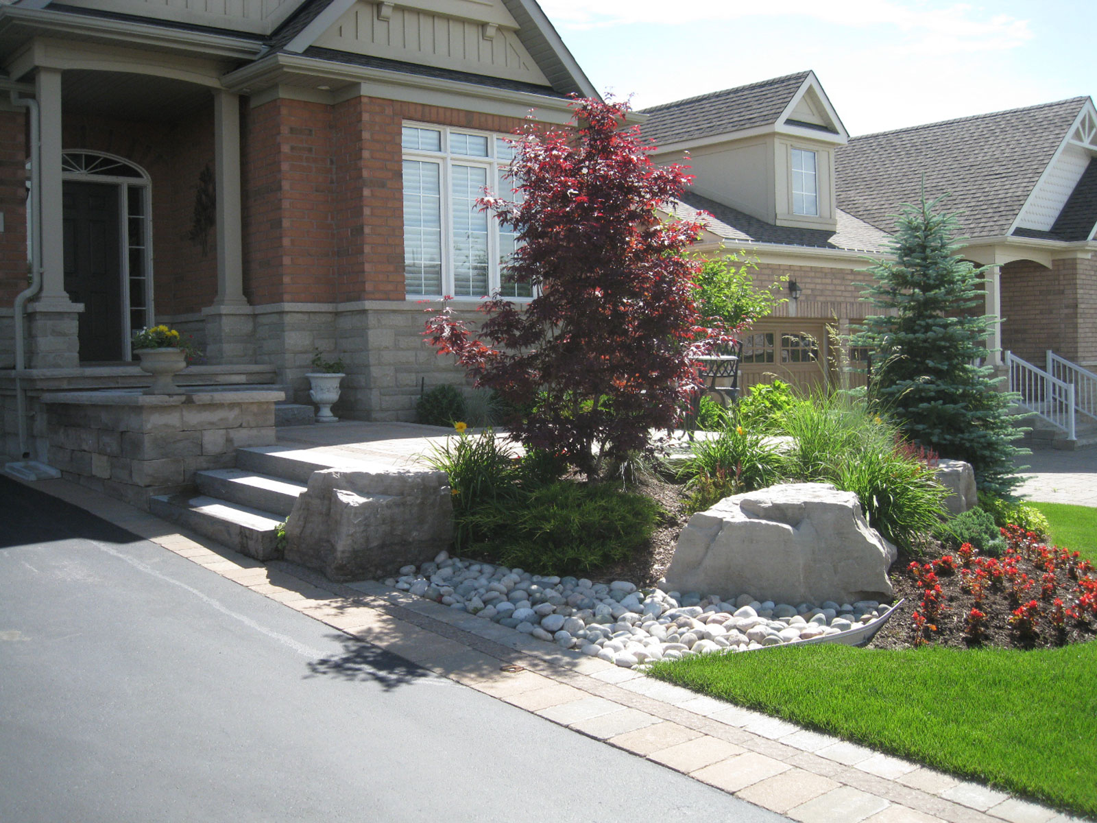 Front Yard Limestone Steps - Patio - Armour Stone