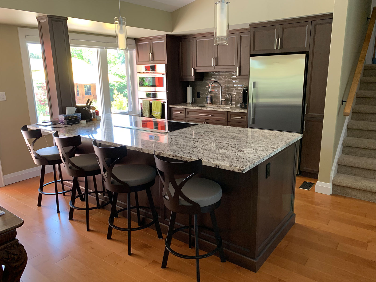 Large Granite Kitchen Island - Cherry Cabinets