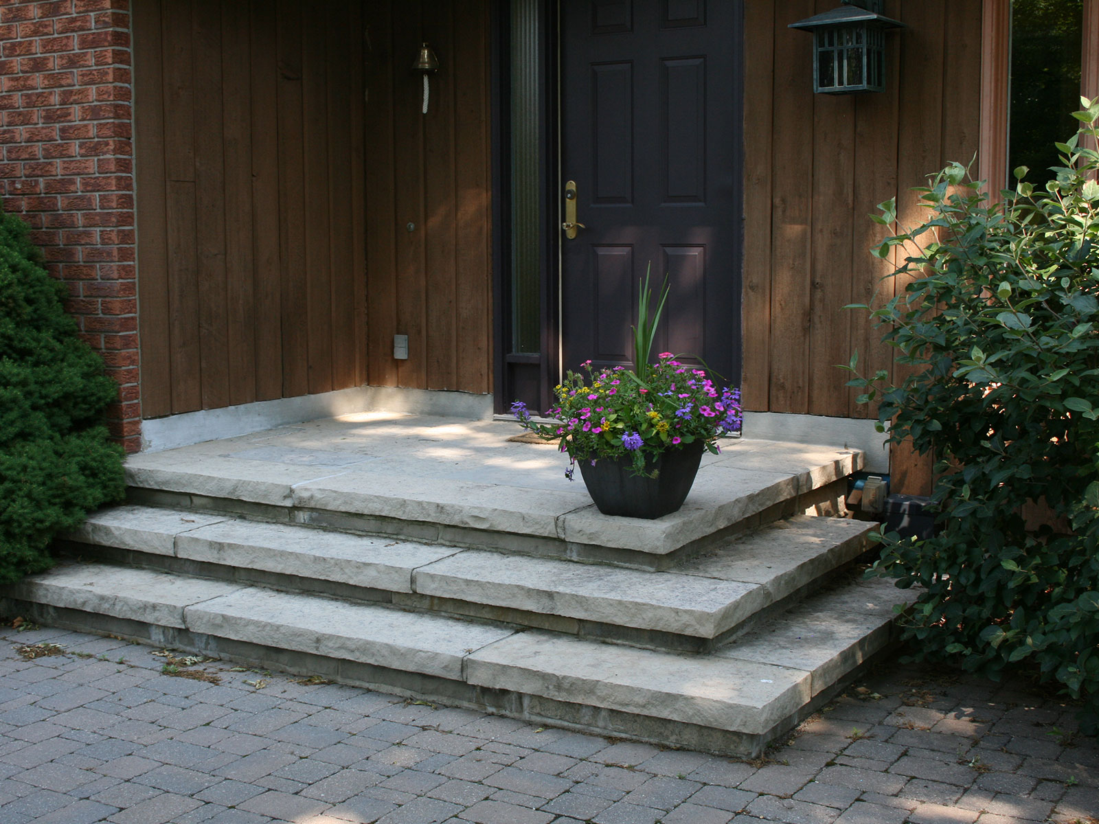 Mortared Limestone Steps and Landing