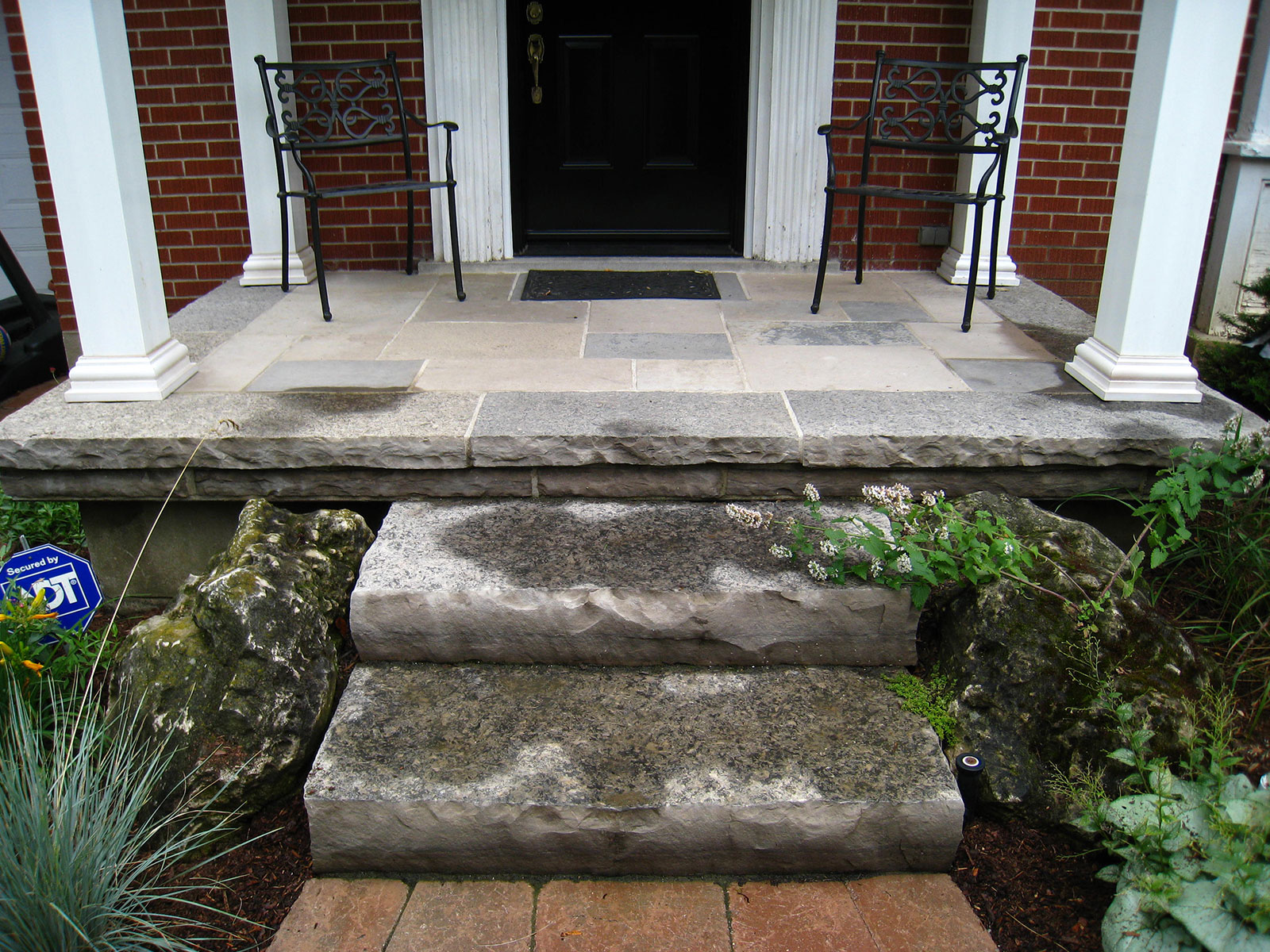 Stacked Limestone Steps and Flagstone Porch