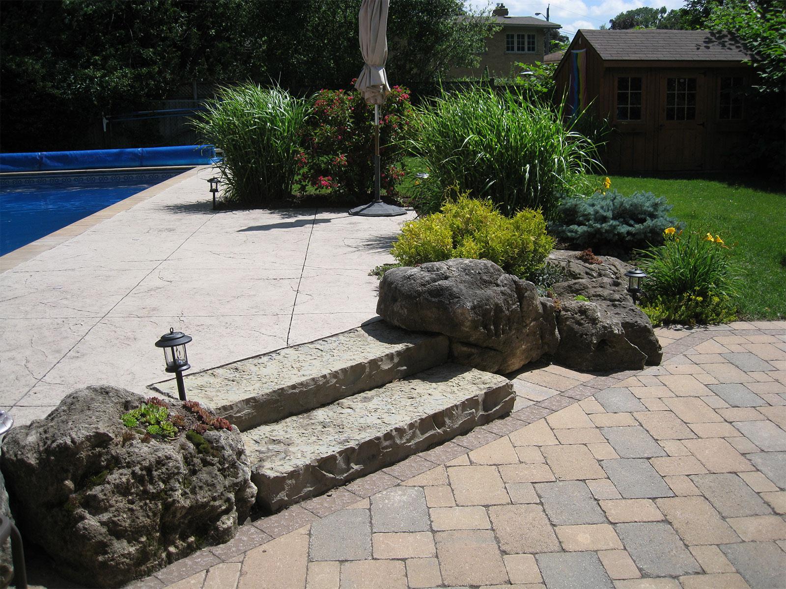 Stone Steps with Limestone Rockery - Patio